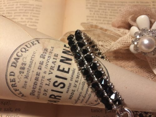 bracelet-swarovski-double-rang-noir