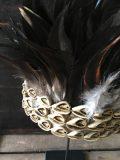 coiffe papou en plume noire art primitif 2