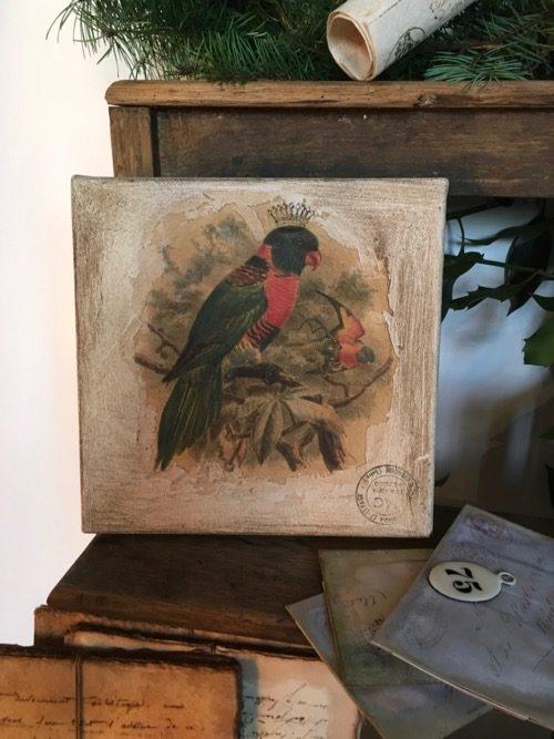 tableau oiseau rouge gorge royal couronne 2